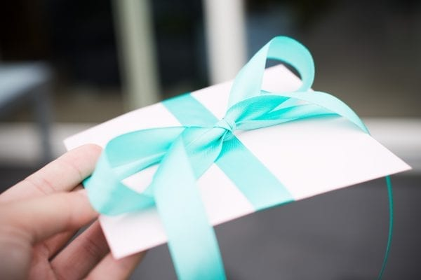 Beautfully Wrapped Gift - Pink Envelope With Turquoise Blue Satin Ribbon. Gift Or Present For Birthdays, Newborn, Pregnancy, Christmas Or Thanksgiving. Gift Certificate.